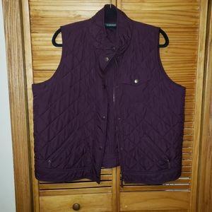 Ralph Lauren Quilted Mock Neck 1X Burgundy Vest